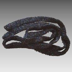 Blue Iris Glass Seed Beaded Flapper Belt