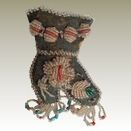 Victorian Era Iroquois Beaded Whimsy Boot Sewing Pin Cushion