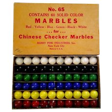 Berry Pink Chinese Checker Marbles Orig Box 60 Pcs Marble King