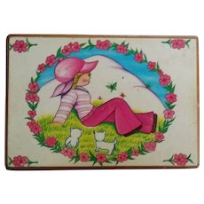 Hippie Girl Decoupaged on Box with Pink Bell Bottom Slacks and a Matching Hot Pink Hat