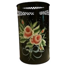 Toleware Handpainted 1950s Metal Trash Can Waste Bin