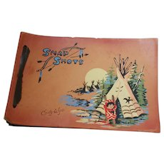 Souvenir Hand Painted Leather Snap Shots Photo Album Cody Wyo Native American Tents Papoose