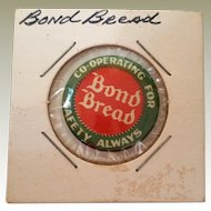 Bond Bread Celluloid Pinback Co-Operating For Safety Always
