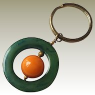Marbled Green Catalin and Butterscotch Bakelite Keychain