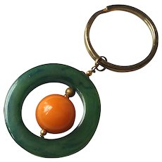 Marbled Green Catalin and Butterscotch Bakelite Keyring