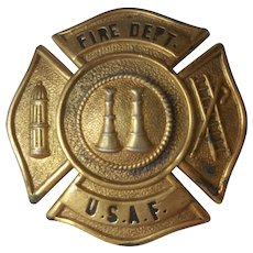 USAF Fire Department Hat Badge Screw On Back