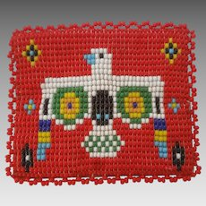 Southwest Style Thunderbird Beaded and Leather Coin Purse