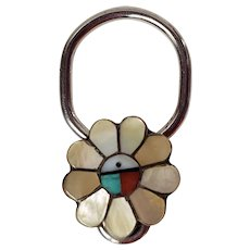 Zuni Inlay Sunface Key Holder-NOS