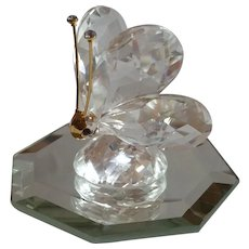 Swarovski Crystal Butterfly 012774 Figurine on Beveled Mirror