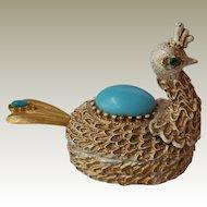 Florenza Peacock Pill Box or Salt Cellar
