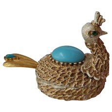 Florenza Peacock Pill Box or Salt Cellar