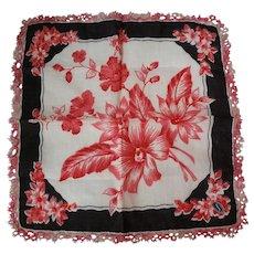 Franshaw Handkerchief Tatted Edge Original Paper Label
