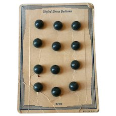 Blue Green Bakelite Buttons on Original Card Ball Shaped 12 pieces