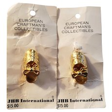 JBH International Pair of Incredible Metal Figural Shoe Buttons