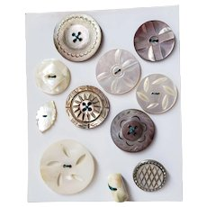 Small Card Abalone & Mother of Pearl MOP Buttons Most Are Carved