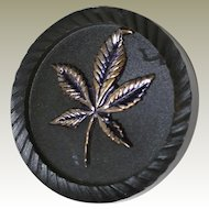 Black Bakelite Button with Metal Marijuana Leaf