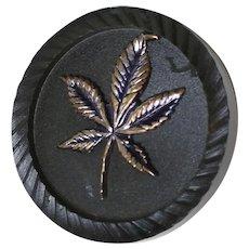 Black Bakelite Button with Metal Marijuana Leaf