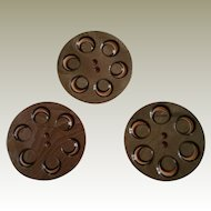 Three Large Layered Carved Celluloid Buttons