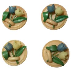 Set of 4 Three Dimensional Tulip Buttons