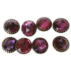 Lot of 8 Large Purple Rhinestone Buttons