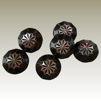 Black Glass Buttons With Silver Accents 6 Total