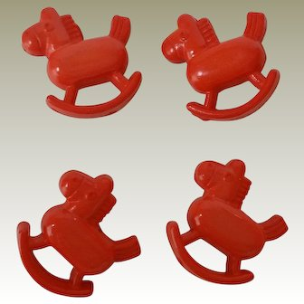 4 Plastic Rocking Horse Figural Buttons
