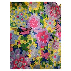 Golden D'or Flower Power Print on Crepe Fabric with Butterflies