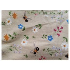 1960s Fruit of The Loom Bumble Bee Floral Print Cotton Fabric 3 yds