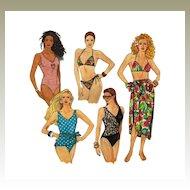Simplicity 9750 Swimwear Bathing Suits Bikini Tank Wrap Style Pareo ©1990 Size D5 for sizes 4 through 12