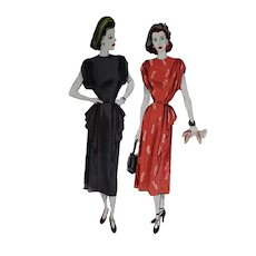 Dramatic Swag  detail McCall 7104 Dress Pattern 32 Bust 1947 Gathered Shoulder Modified Peplum