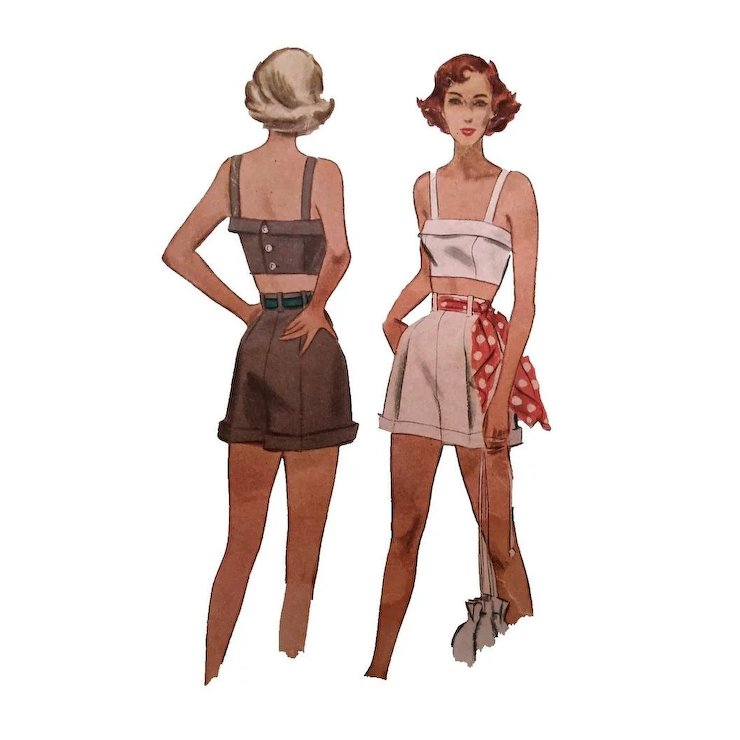 ON HOLD - Pin up Girl Cuffed Shorts Crop Top Sewing Pattern McCall ...