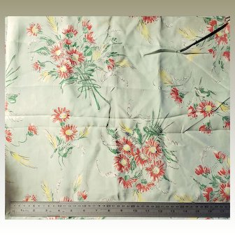 Pale Mint Green Background Floral Print Fabric