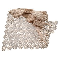 Hand Crocheted Ecru Cotton Table Cloth Apx 48 X 62