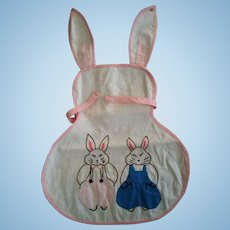 Bunny Shaped Doll or Baby Apron with Applied and Embroidered Bunnies