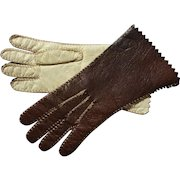 Tiny Leather Doll Gloves Cocoa Brown and Cream