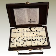 Vintage Spinner 6x6 Dominoes in Leatherette Travel Case