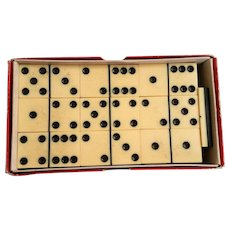 Vintage Dominoes Faux Ivory Celluloid Laminated to Black