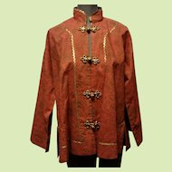 Custom Made Asian Style Coolie Jacket with Swing Coat Styling in Coral with Gold Print and Frog Closures