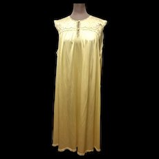 Vintage Vanity Fair Nightgown Butter Yellow with Lace Embroidery and Cut Work