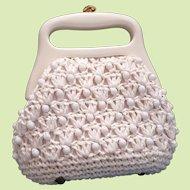 Raffia Beaded Crocheted Purse Made in Italy Rigid Plastic Hinged Frame Handle