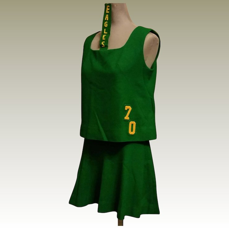 Cheerleader Uniform Outfit Green Wool with Gold Eagles 1970 Cheerleading Costume & Cheerleader Uniform Outfit Green Wool with Gold Eagles 1970 : This ...