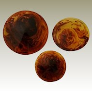 Bakelite Buttons.Set of 3 Cone Shaped Marbled Prystal Apple Juice and Deep Chocolate