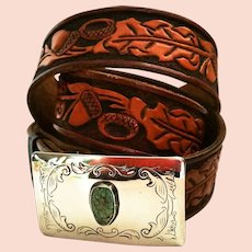 Tooled Leather Belt with Turquoise Buckle Featuring Acorns and Leaves