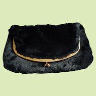 Black Faux Sheared Mink Fur Fold Over Clutch Bag Purse