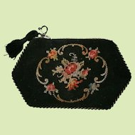 French Petit Point Coin Purse Zip Top Purchased in Paris France in 1929