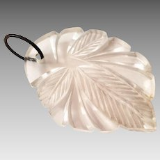 Clear Lucite Deep Carved Leaf Motif Purse Zipper Pull