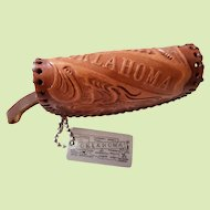 Hand Tooled Leather Coin Purse with Metal Keychain from Oklahoma