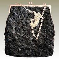 Black Beaded Walborg Evening Purse Bag