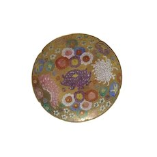 Satsuma Style Biscuit or Tea Plate with Heavy Gold and Moriage Made in Japan Original Paper Labels c1983