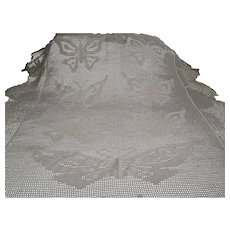 Butterflies Hand Crocheted Bedspread Vintage Throw Coverlet Cream Colored